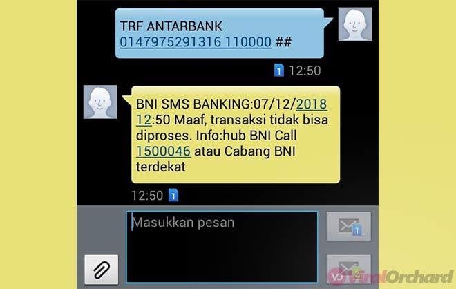 Contoh Cara Transfer SMS Banking BNI Antar Bank