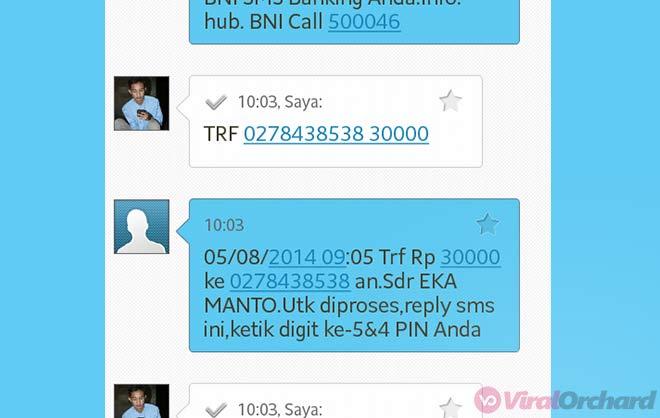 Conton Transfer SMS Banking BNI Ke BNI
