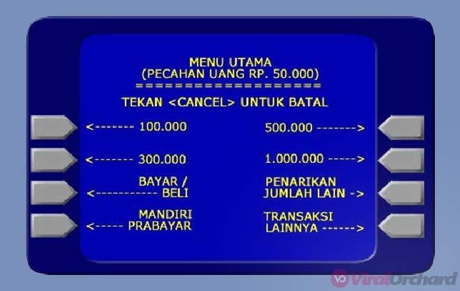 Nominal Penarikan Uang ATM Mandiri