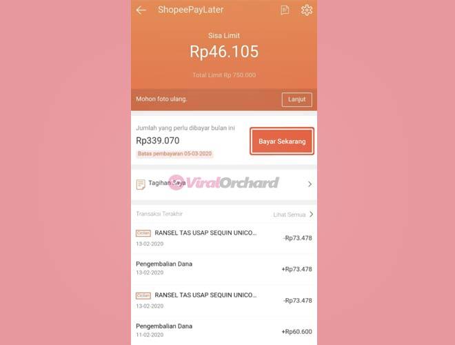 Cara Bayar Tagihan Cicilan Shopee PayLater