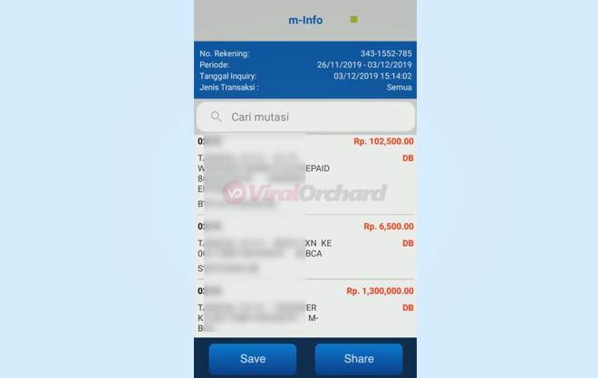 Cek Mutasi Rekening BCA Via Mobile Banking
