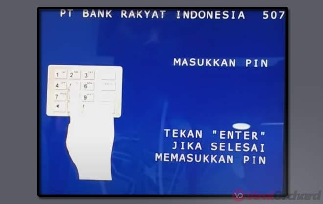 Masukan Pin ATM BRI Setor Tunai