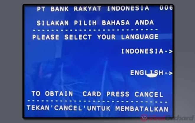 Pilih Bahasa Setor Tunai ATM BNI