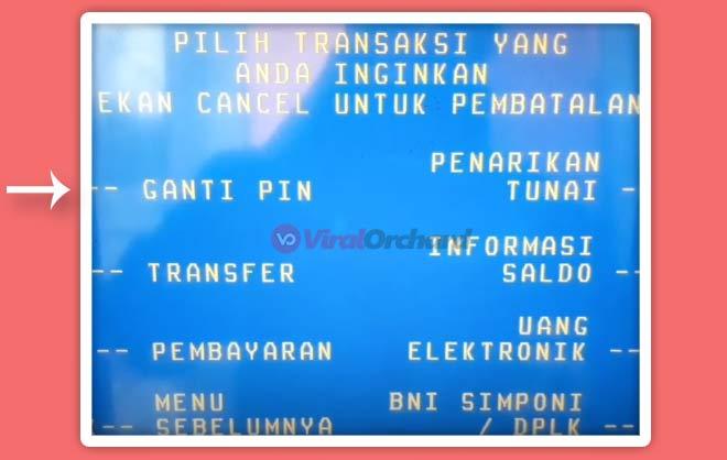 Ganti PIN ATM BNI
