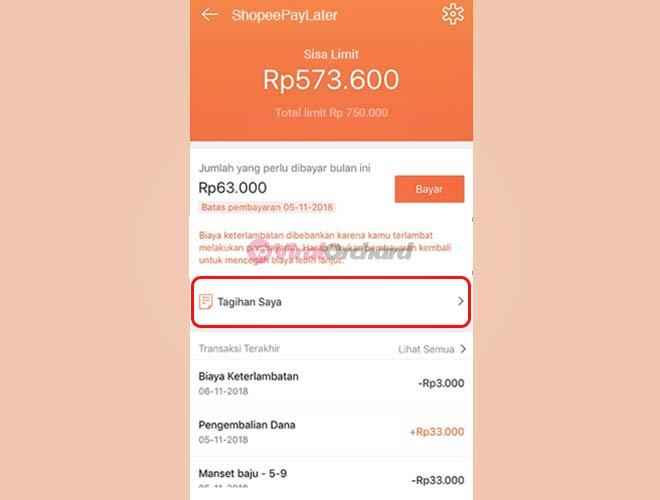 Cara Bayar Denda Shopee PayLater