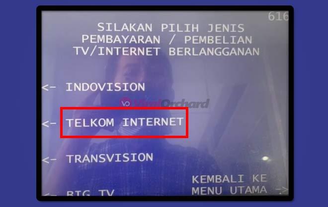 Pembayaran Indihome Via ATM BRI
