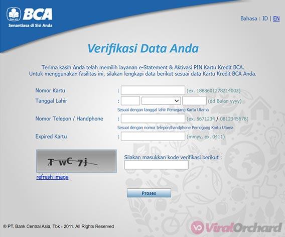 Cara Aktivasi PIN Kartu Kredit BCA Online